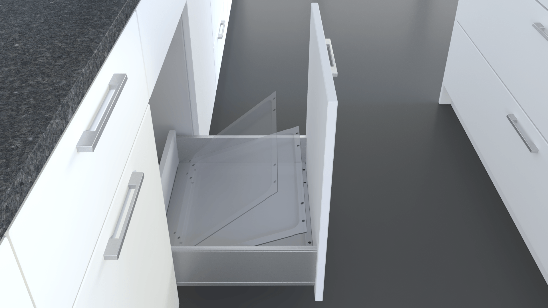 Insert tray for ideal support for clever waste separation systems for the kitchen.