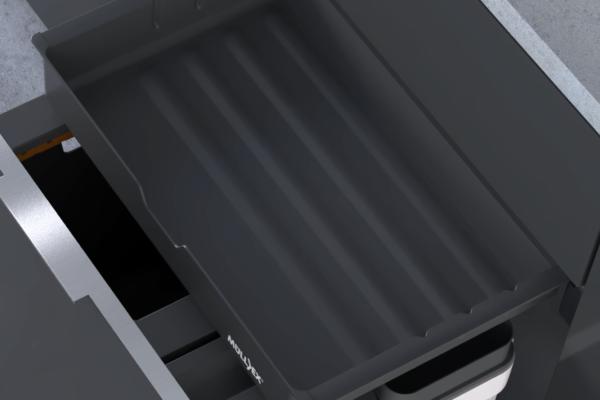 Clevere Abfallsysteme für die Küche mit Ablagefach für Küchenutensilien.