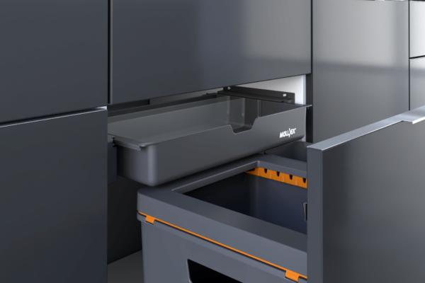 Clevere Abfallsysteme für die Küche dank verstellbarer Rückwand.