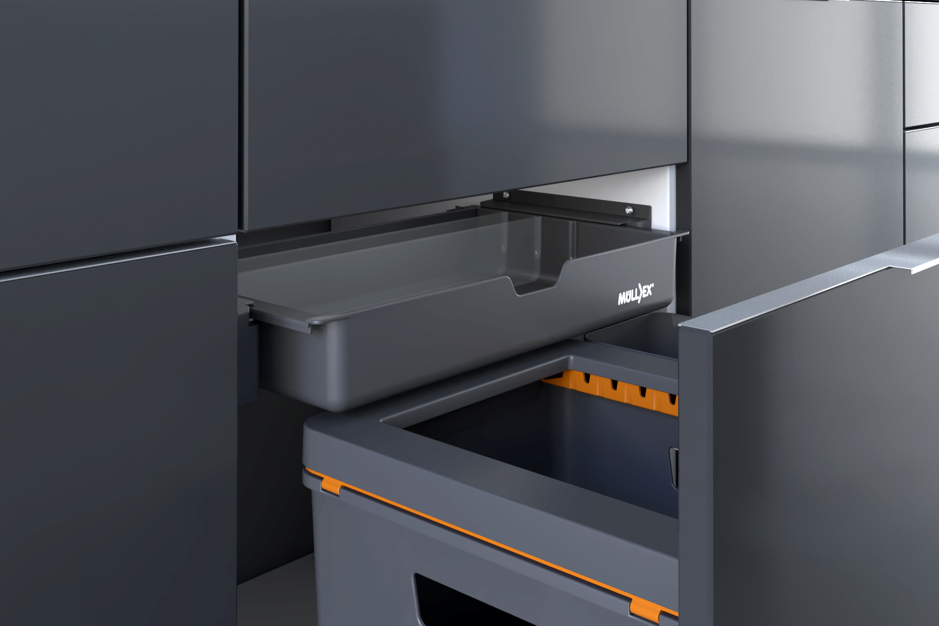 Clever waste separation systems for the kitchen thanks to the adjustable rear panel.