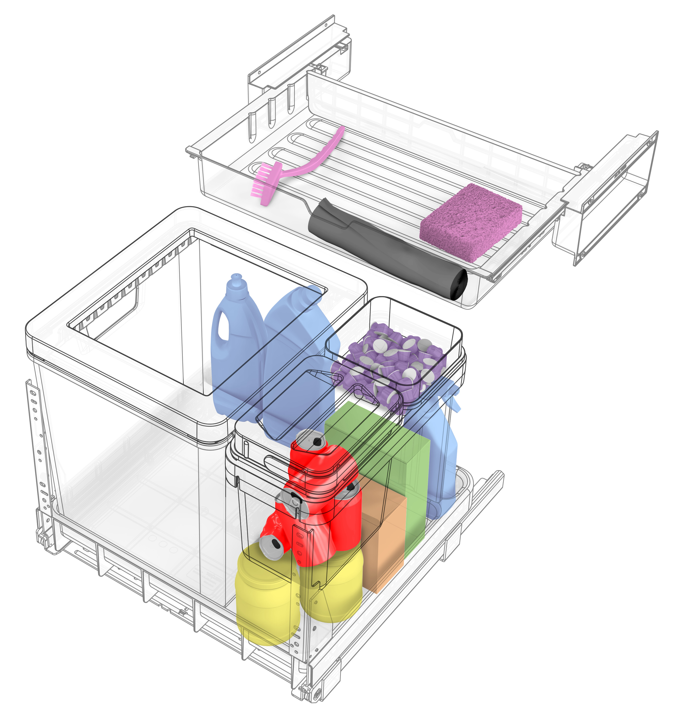 Clever waste separation systems for the kitchen offer more storage space.