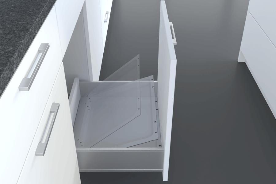 Einlegeschale für idealen Halt für clevere Abfallsysteme für die Küche